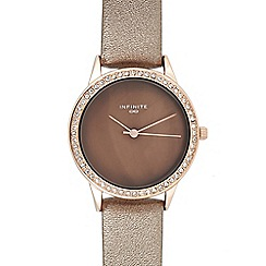 Infinite - Womens' Bronze Diamante Trim Analogue Watch