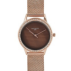 Infinite - Womens' Rose Gold Plated Stone Embellished Analogue Watch