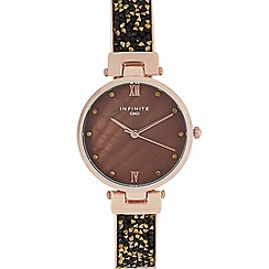 Infinite - Womens' bronze diamante embellished analogue watch