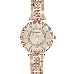 Red Herring - Womens' rose gold plated diamante embellished analogue watch