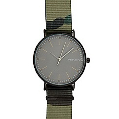 Red Herring - Mens' green camo print strap analogue watch
