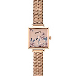 Mantaray - Womens' Rose Gold-Plated Floral Print Analogue Watch