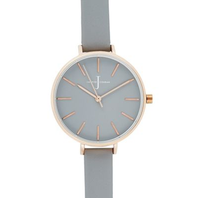 J By Jasper Conran   Womens' Grey Leather Strap Analogue Watch by J By Jasper Conran