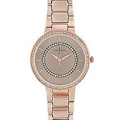 J by Jasper Conran - Womens' Rose Gold Plated Stone Embellished Analogue Watch