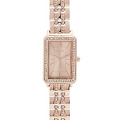 Infinite - Womens' rose gold diamante analogue watch