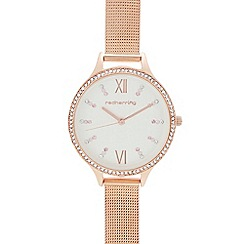 Red Herring - Womens' rose gold mesh strap analogue watch