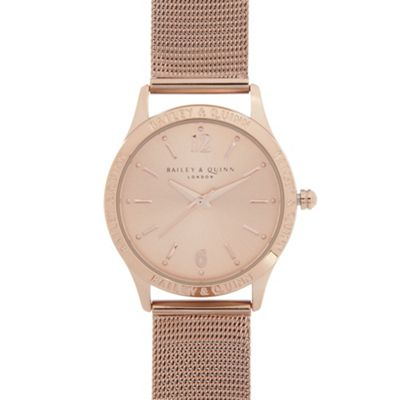 Bailey & Quinn Ladies rose gold plated branded bezel watch ...