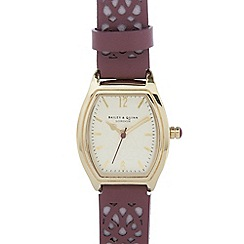 Bailey & Quinn - Ladies purple leather laser cut strap watch