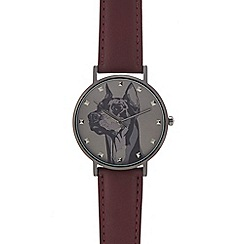 Red Herring - Mens' red dog print analogue watch