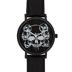 Red Herring - Men's black skull graphic analogue watch