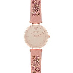 Mantaray - Womens' pink floral embroidered analogue watch