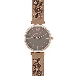 Mantaray - Womens' brown floral embroidered analogue watch
