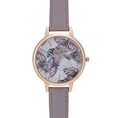 Mantaray - Womans' purple butterfly analogue watch