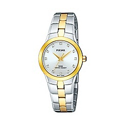 Pulsar - Ladies multi coloured round mother of pearl dial two tone bracelet watch ptc512x1