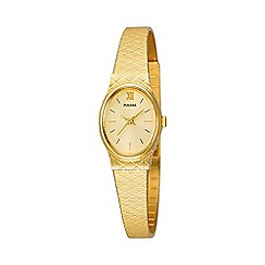 Pulsar - Ladies gold coloured oval dial bracelet watch pk3032x1