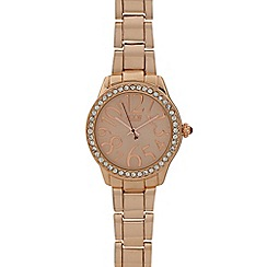 Floozie by Frost French - Designer ladies rose gold plated crystal face watch