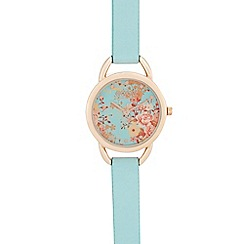 Floozie by Frost French - Ladies' light turquoise floral analogue watch