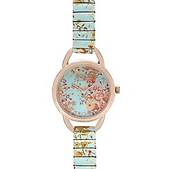 Floozie by Frost French - Designer ladies green floral link strap watch