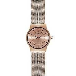 Infinite - Ladies rose gold plated mesh analogue watch
