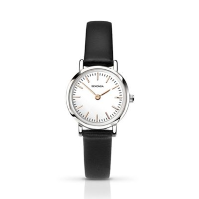Sekonda   Ladies Black Analogue Leather Strap 2346.28 by Sekonda