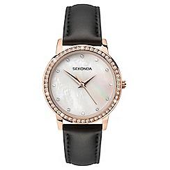 Sekonda - Ladies black analogue leather strap watch 2515.28