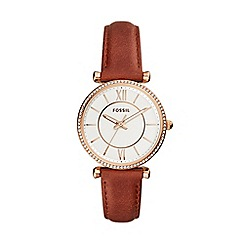 Fossil - Ladies Brown 'Carlie' Analogue Leather Strap Watch ES4428