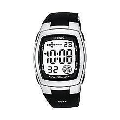 Lorus - Men's  black rectangle white dial digital watch r2301cx9