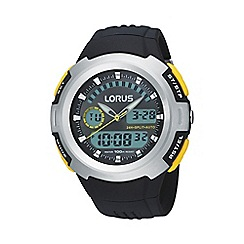 Lorus - Men's  black round silver bezel digital watch r2323dx9