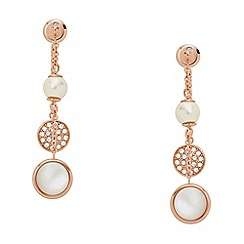 Fossil - Rose Gold Plated Mother of Pearl Drop Earrings