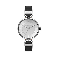 Armani Exchange - Ladies Black  Smart  Analogue Leather Strap Watch AX5323 b4de8ce82b