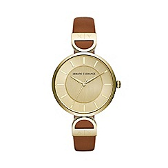 Armani Exchange - Ladies Brown 'Smart' Analogue Leather Strap Watch AX5324
