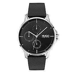 Hugo - Men's black analogue leather strap watch 1530022