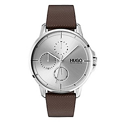 Hugo - Men's brown analogue leather strap watch 1530023