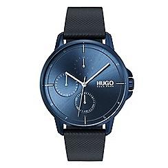 Hugo - Men's blue analogue leather strap watch 1530033