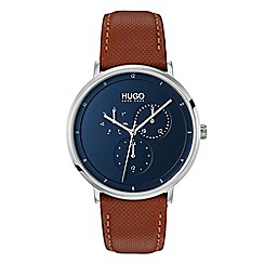Hugo - Men's brown analogue leather strap watch 1530032