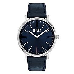 Hugo - Men's blue analogue leather strap watch 1520008