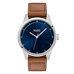 Hugo - Men's brown analogue leather strap watch 1530029