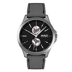 Hugo - Men's grey analogue strap watch 1530047