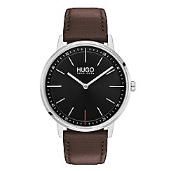 Hugo - Men's brown analogue leather strap watch 1520014