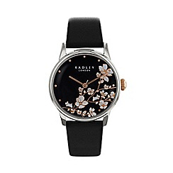 Radley - Ladies Black 'Linear Flower' Analogue Leather Strap Watch RY2687