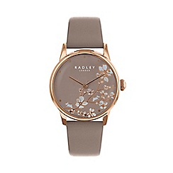 Radley - Ladies Brown 'Linear Flower' Analogue Leather Strap Watch RY2690