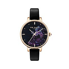 Ted Baker - Ladies black 'Kate' Mother of Pearl analogue leather strap watch TE50005021