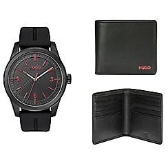 Hugo - Men's black analogue strap watch gift set 1580001