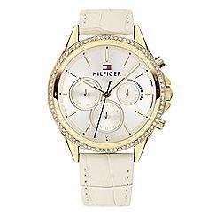 Tommy Hilfiger - Ladies cream multifunction leather strap watch 1781982