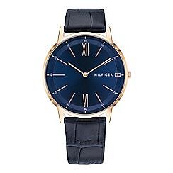 Tommy Hilfiger - Men's blue analogue leather strap watch 1791515