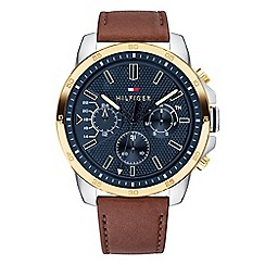 Tommy Hilfiger - Men's brown multifunction leather strap watch 1791561