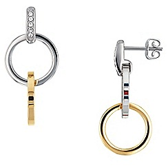Tommy Hilfiger Silver And Gold Plated Interlocking Circle Drop Earrings