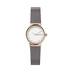 Skagen - Ladies Grey 'Freja' Analogue Leather Strap Watch SKW2669