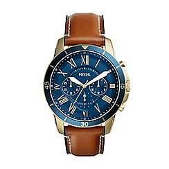 Fossil - Men's Brown Analogue Leather Strap Watch FS5268