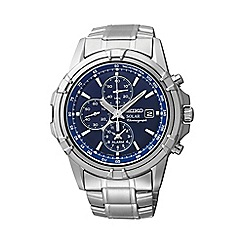 Seiko - Men's stainless steel solar chronograph bracelet watch ssc141p1